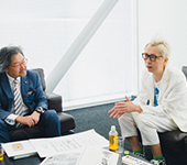 Michihiko Yanai (Creative Director) talk with Hajime Inoue (Executive Officer the Entertainment Department)